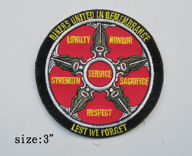 Bikers United in Remembrance Patch